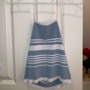 Blue and white striped halter top.